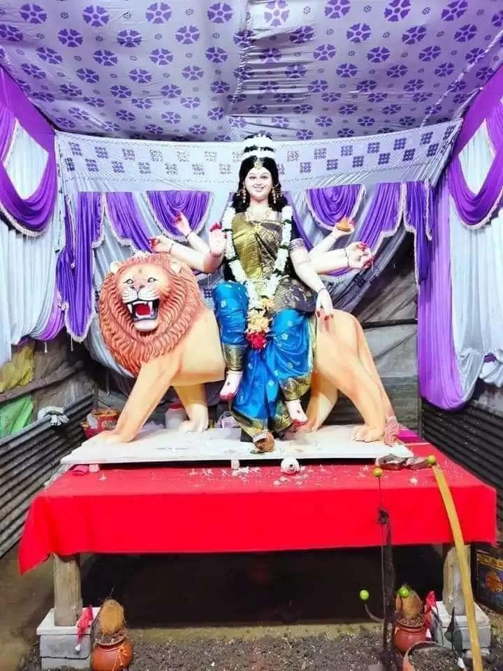 मां दुर्गा की सुंदर मुस्कराती हुई फोटो पूरे देश में वायरल, मूर्तिकार है पवन, झलक पाने उमड़ रहे लोग