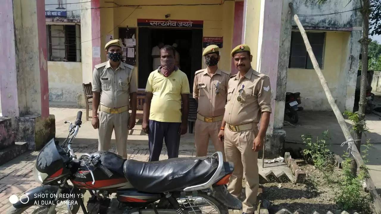 चोरी की मोटरसाइकिल के साथ अभियुक्त गिरफ्तार