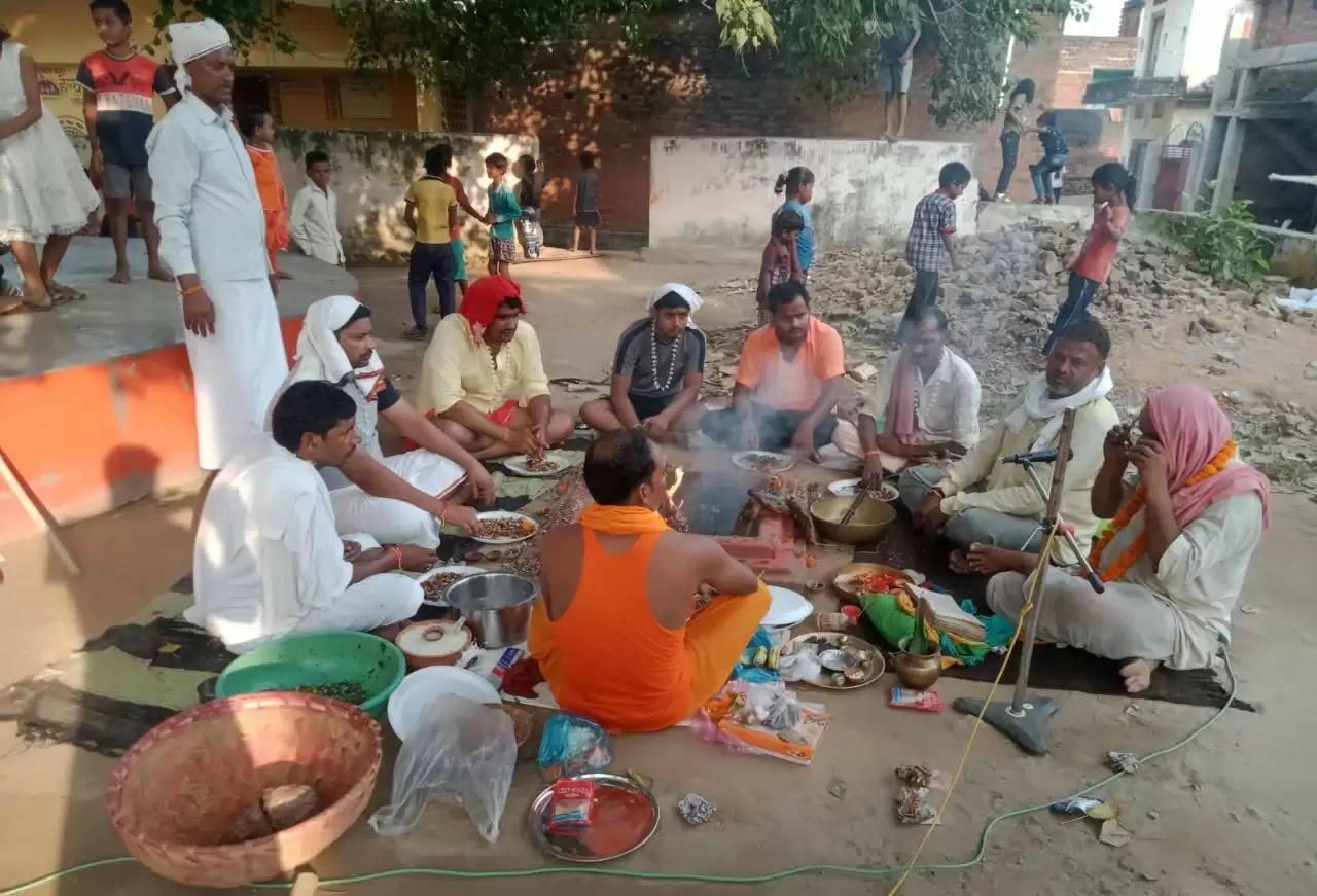 नवरात्रि महानवमी,धरौली में हवन पूजन के साथ किया गया कन्या पूजन